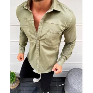 Krásna pánska rifľová košeľa v kaki farbe