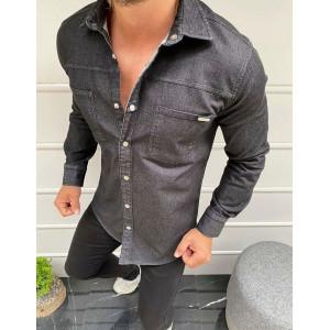 Krásna pánska rifľová košeľa v čiernej farbe