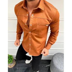Krásna pánska košeľa v hnedej farbe