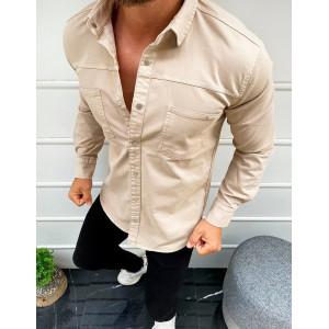 Krásna pánska béžová košeľa