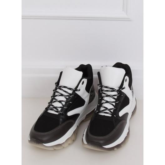 Dámske šnurovacie vysoké tenisky čiernej farby