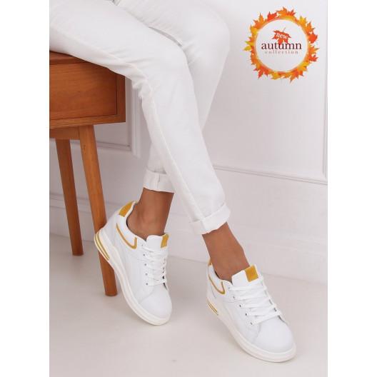 Biele dámske členkové tenisky s farebnými doplnkami