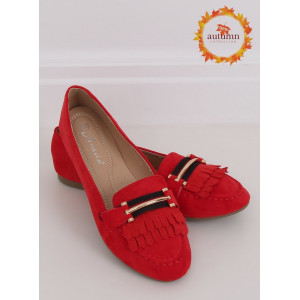 Krásne dámske červené semišové mokasíny