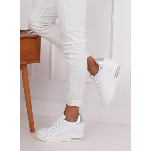 Dámske biele tenisky so strieborným motívom hadej kože