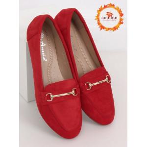 Semišové dámske červené mokasíny