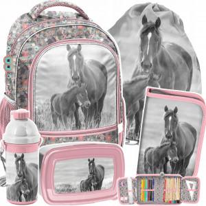Päťčasťová ružová školská taška pre dievčatko HORSE