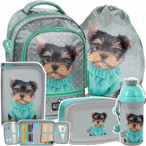 Krásna päťdielna školská taška s roztomilým motívom psíka