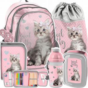 Roztomilá päťdielna školská taška pre dievčatá SWEET KITTY