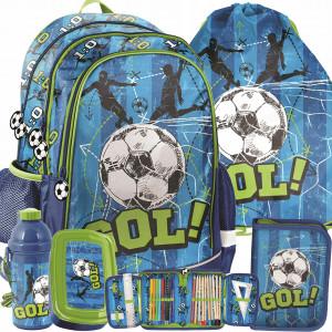 Modrá päťčasťová školská taška pre chlapcov FOOTBALL
