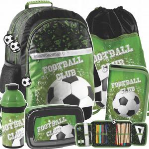 Zelený päťdielny školský batoh pre chlapcov FOOTBALL