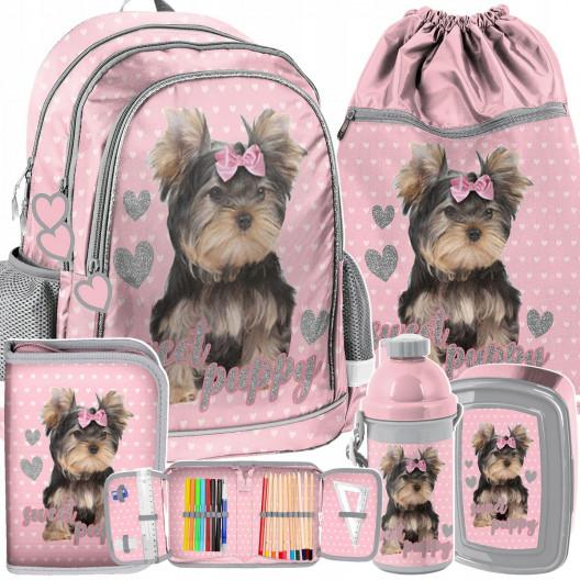 Ružová päťdielna školská taška s motívom psíka