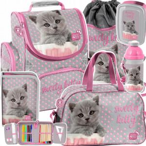 Dievčenská šesťdielna ružová školská taška pre prváčku