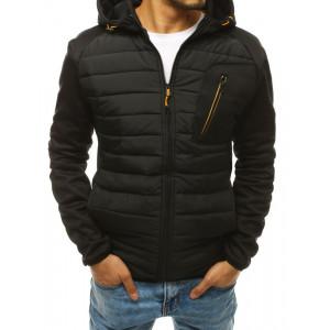 Moderná pánska čierna prešívaná bunda s kapucňou