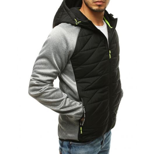 Športová pánska prechodná bunda s kapucňou svetlosivá