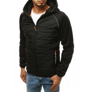 Čierna trendy pánska prechodná prešívaná bunda s kapucňou