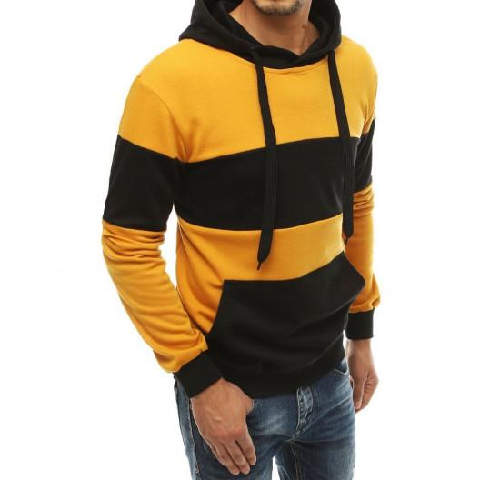 Žltá moderná mikina s kapucňou pre pánov