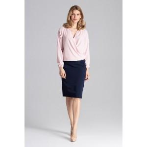 VEĽKOSŤ S Slávnostná dámska blúzka v ružovej farbe s dlhým rukávom