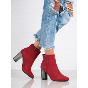 Červená dámska členková obuv na vysokom striebornom podpätku