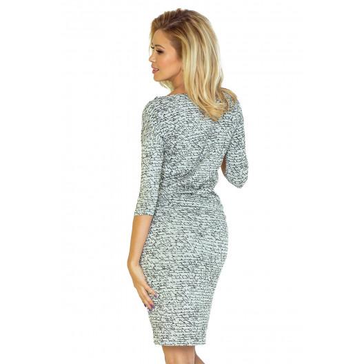 Pohodlné dámske sivé šaty s designom nápisom