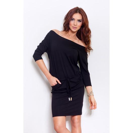 Čierne športové dámske šaty s bočnými vreckami