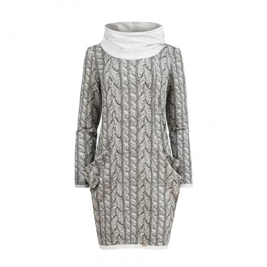Originálne dámske sivé šaty s rolákom a boćnými vreckami