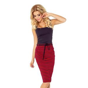 Originálna dámska červená púzdrová sukňa s ozdobnou šnúrkou