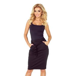 Dámska čierna púzdrová sukňa s ozdobnou šnúrkou