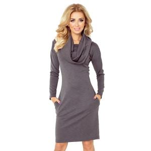 Príjemné šaty na jeseň v šedej farbe