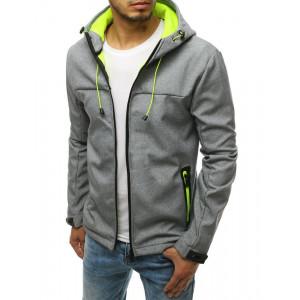 Svetlo sivá pánska prechodná bunda s neónovou podšívkou