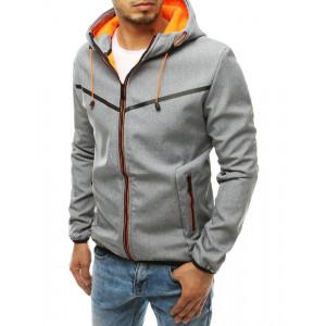Svetlo sivá pánska prechodná bunda na zips a s kapucňou