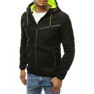 Čierna pánska prechodná bunda na zips s kapucňou