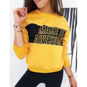 Výrazná dámska žltá dámska mikina s módnym nápisom