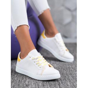 Trendy dámske biele šnurovacie tenisky