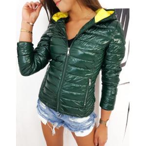 Trendová zelená bunda na jeseň s kapucňou