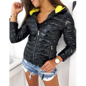 Čierna lesklá prechodná bunda s kapucňou