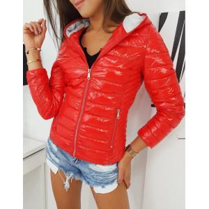 Štýlová prechodná bunda červenej farby so zipsom