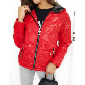 Červená lesklá prechodná bunda pre dámy