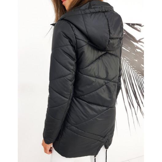 Originálna dámska čierna prechodná bunda s kapucňou