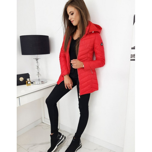 Červená dámska prechodná bunda predĺženého strihu
