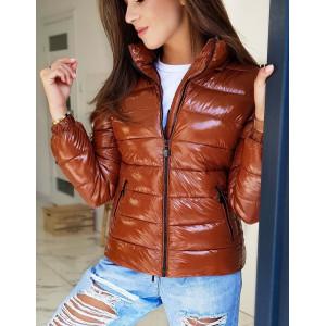 Hnedá dámska prechodná bunda so zapínaním na zips