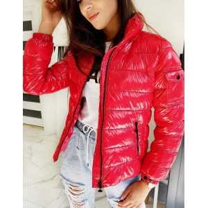 Štýlová dámska červená bunda s odopínateľnou kapucňou