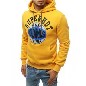 Trendy pánska žltá mikina s kapucňou