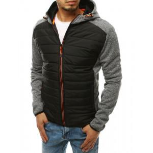 Svetlosivá pánska prechodná bunda s kapucňou