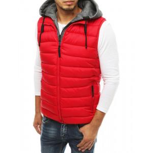 Červená športovo elegantná prešívaná vesta s kapucňou