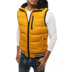 Pohodlná prešívaná pánska vesta s kapucňou v žltej farbe