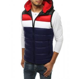 Moderná prešívaná vesta s kapucňou vo farbách navy blue