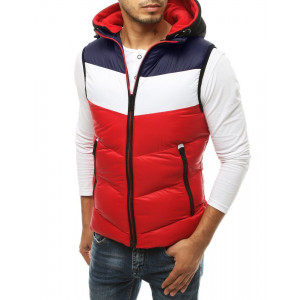 Štýlová prešívaná vesta červeno modrej farby s nápisom na kapucni