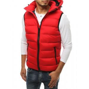 Pánska červená prešívaná vesta s kapucňou