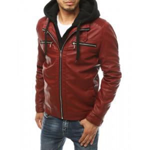 Originálna jesenná pánska červená kožená bunda