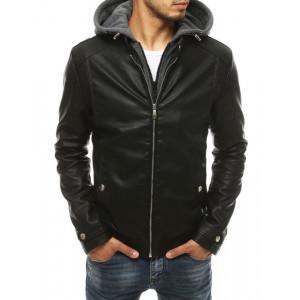 Pánska čierna kožená bunda s kapucňou na jeseň